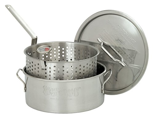 New Barbour International Bayou Classic Stainless Steel 10 Qt Deep Fry Pot Lid Basket Thermometer