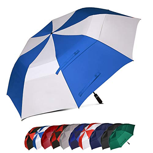 BAGAIL 62 Inch Portable Golf Umbrella Large Oversize Double Canopy Vented Windproof Waterproof Automatic Open Stick Umbrellas for Men and Women (Royal Blue and White)