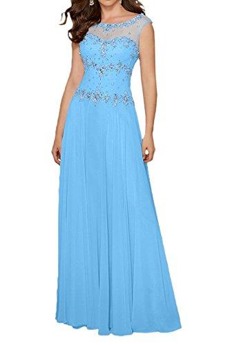 Braut Damen La Steine Marie Chiffon Blau Lang Kurzarm mit Abendkleider Gruen Lemon Brautmutterkleider Festlichkleider 4TTwqF