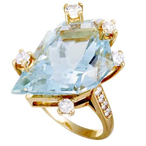 Chaumet 18K Yellow Gold Diamond and Large Aquamarine Ring ()