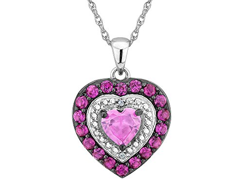 Created Ruby and Pink Sapphire Heart Pendant Necklace with Diamonds in Sterling Silver with Chain ()