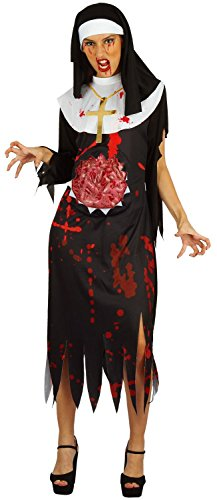 U LOOK UGLY TODAY Womens Halloween Costume Bloody Nun Cosplay for Adult Fancy Party Dress