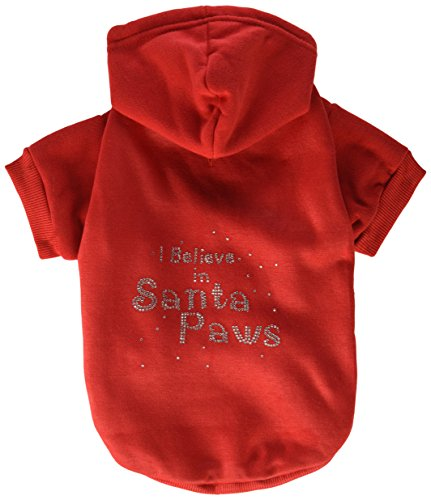 Mirage Pet Products 14-Inch I Believe in Santa Paws Hoodie, Large, Red