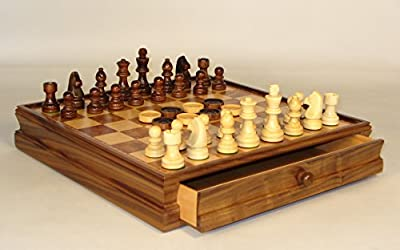 Wood Chess & Checker Set with Chest