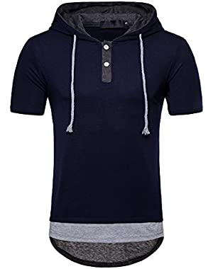 Mens Casual Hooded T-Shirt Short Sleeve Pullover Hoodie Top