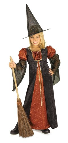 Halloween Concepts Child's Orange Glitter Witch Costume, Medium