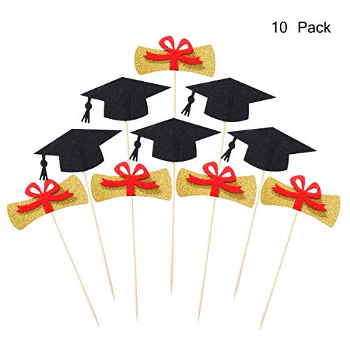 LUOEM Graduation Cake Toppers 2019 Graduation Party Favors Graduation Party Table Centerpieces for Party Decoration,Pack of 10         ]()