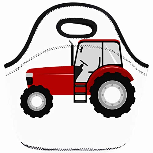 Ahawoso Reusable Insulated Lunch Tote Bag Tractors Red Farm Farming Vehicles Kids Childrens Zippered 10X11 Neoprene School Picnic Gourmet Lunchbox]()