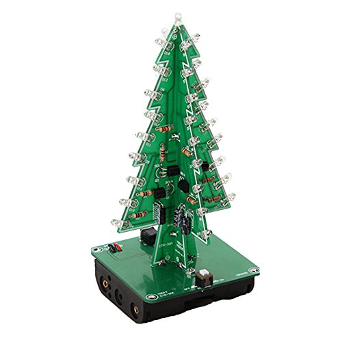Icstation DIY 3D Christmas Tree Kit with 7 Color Flashing LED for Electronics solder Practice