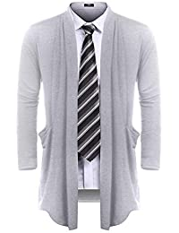 Men's Ruffle Shawl Collar Cardigan Sweater Long Length Overcoat with Pockets S-XXL