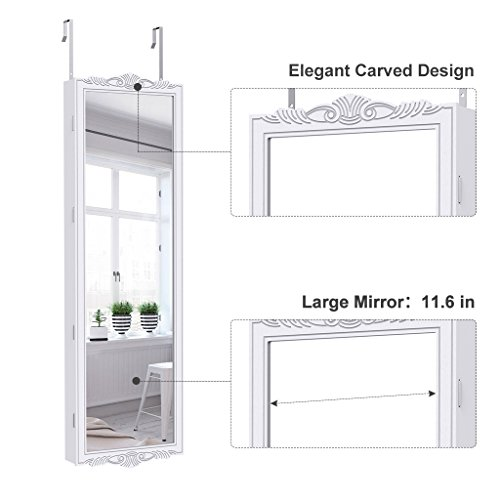 LANGRIA Full-Length Lockable Wall-Mounted Over-the-Door Hanging Jewelry Cabinet Armoire and Accessories Storage Organizer with 2 Drawers Carved Design and 3 Adjustable Heights (White) by LANGRIA (Image #4)