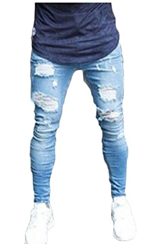 Generic Men's Distressed Holes Denim Pants Trousers Ripped Destroyed Jeans 1 XS by GenericMen