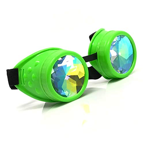 3D Rainbow Prism Kaleidoscope Rave Glasses, Steampunk Goggles,