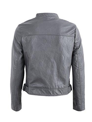 Cuir Simplee Motard Gris Slim De Vêtements Tenue Digne Les Ferme La Revers Femmes Veste Extérieur Faux q5nTwft