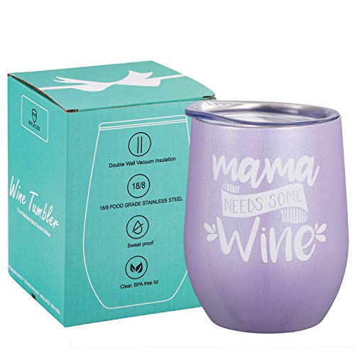 Mama Need Some Wine - Best Mom Birthday Gifts for Mom,Mothers Day Gift Ideas From son daughter, Christmas Gifts for Mom, New Mom, Pregnant Mom, Wife Gifts Funny 12 oz wine tumbler (Best Christmas Gifts For New Moms)
