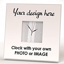 Customized Personalized Wall Clock Framed Mirror Gift Decor Souvenir Design Your Custom Photo Image