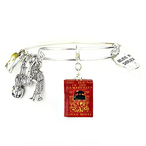 [Sherlock Holmes THE HOUND OF THE BASKERVILLES Sir Arthur Conan Doyle Clay Mini Book Expandable Bangle Bracelet by Book] (Doctor Watson Costume)