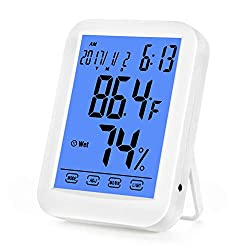 Xlwdj Temperature And Humidity Meter Digital Indoor Thermometer Hygrometer Thermo Hygrometer Gauge With Alarm Clock Smart Touchscreen And Backlight For Home Office Comfort Accurate Readings