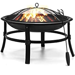 "Firepits KINGSO Fire Pit, 26"" Fire Pits Outdoor Wood Burning Steel BBQ Grill Firepit Bowl with Mesh Spark Screen Cover Log Grate… firepits"