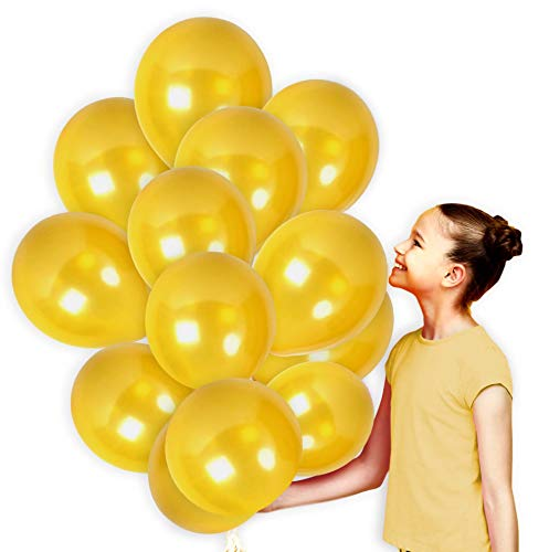 Pack of 72 Gold Birthday or Bachelorette Party Balloons with Ribbons Metallic Golden Decorations for Baby Shower or Wedding Arch Latex Supplies -