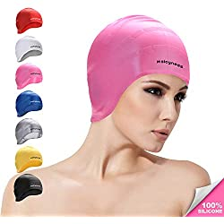 Msicyness Swim Cap Cover Ears for Long Hair Silicone Swimming Hat Unisex Adult Kids Swimming Pool Caps Reduce Water Intake Makes Your Hair Clean