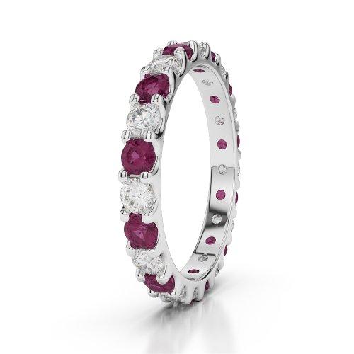 Or blanc 18carats 1,15CT G-H/VS sertie de diamants ronds Cut Rubis et éternité Bague Agdr-1105