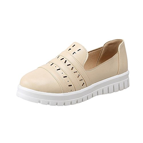Carolbar Womens Casual Fashion Comfort Cuff Hollow Out Flats Shoes Beige uPNgr