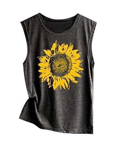 MAXIMGR Sunflower Print Tank Top Funny Graphic Tanks Women Crew Neck Sleeveless Tee Shirt Vest Size S (Grey)