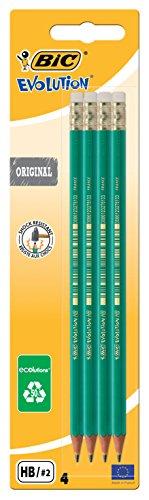 BIC Evolution Original avec Gomme Crayons à Papier - HB, Blister de 4