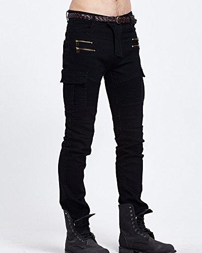 Fit Nero Jeans Straight Slim Denim Pantaloni Uomo Biker Cargo In StUxqdz