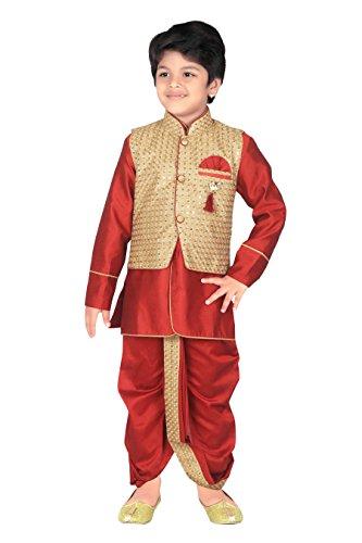 Dhoti Kurta (ahhaaaa Kids Indian Ethnic Waistcoat, Kurta, Breaches and Dhoti Pant Set for Baby Boys(7, Maroon))