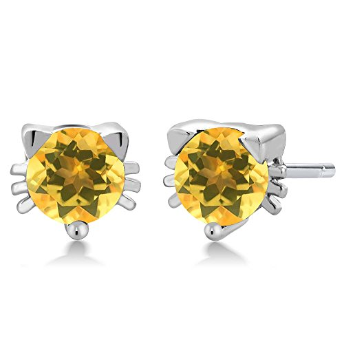 llow Citrine 925 Sterling Silver Kitty Cat Stud Earrings (Citrine Cats)