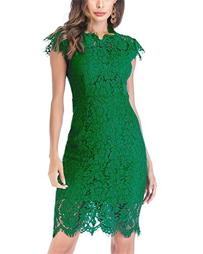 Women's Sleeveless Floral Lace Slim Evening Cocktail Mini Dress for Party DM261 (S, Green)