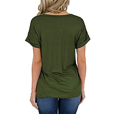 MIHOLL Women's Short Sleeve V-Neck Shirts Loose Casual Tee T-Shirt at Women's Clothing store