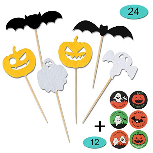Halloween Cupcake Toppers,24 Pieces Halloween Party Decorations Supplies with 12 Pieces