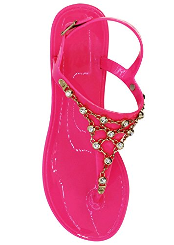 Pink Jeweled Sandal (Best Pink Jellies Jeweled T Strap Buckled Sandal Cute Sexy Summer Party 2018 Pretty Flat Low Heel Comfy Dressy Bedazzled Slip On Flip Flop Slippers for Sale Woman Lady Teen Girl (Size 10, Pink))