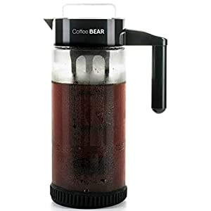Cold Brew Coffee Maker By Coffee Bear – Protective No Slip Base – 1.3L / 44oz Heavy-Duty Glass Pitcher with Easy To Clean Reusable Mesh Filter – Dishwasher Safe – Iced Coffee and Tea Brewer