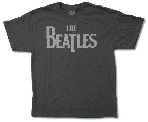 Beatles Men's Grey Logo Charcoal T-shirt, 2X-Large