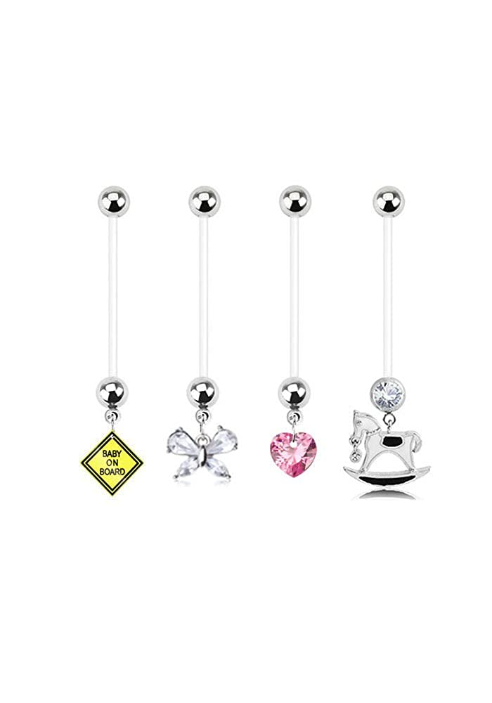 Bioflex Maternity Pregnancy Navel Belly Button Ring Baby On Board, Butterfly, Heart & Girl 14G Nose Ring Bling NSC3100