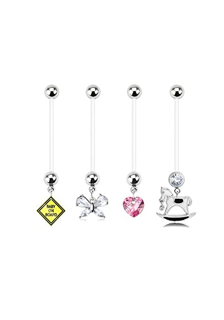 Bioflex Maternity Pregnancy Navel Belly Button Ring Baby On Board