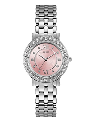 GUESS  Stainless Steel + Pink Crystal Bracelet Watch. Color: Silver-Tone (Model: U1062L2) Collection Stainless Steel Bracelet
