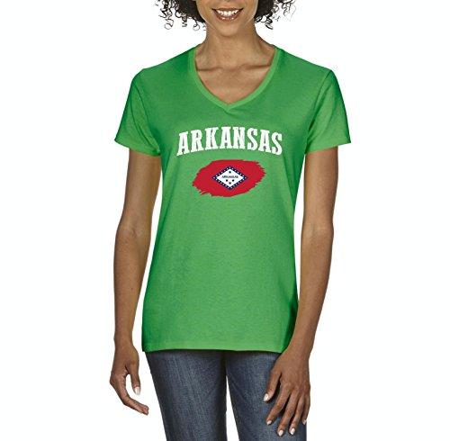 Arkansas State Flag American Women V-Neck T-Shirt (Golf University State Arkansas)