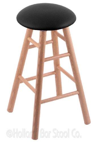Oak Natural Swivel Pub Stool - Oak Counter Stool in Natural Finish with Black Vinyl Seat