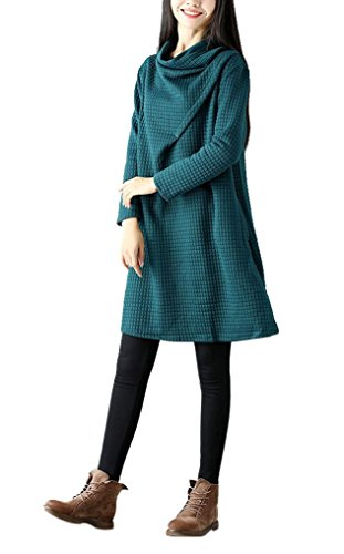 Landove Robe Oversize Femme Pull Col Benitier Manche Longue Automne Hiver Sweat Robe Unie Grande Taille Casual Sweatshirt Long Tunique Jumper Top Vert