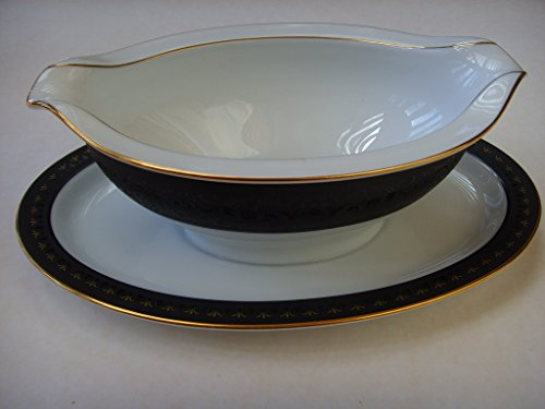 Noritake China Gravy Boat - Noritake Benedicta 6976 Fine China Gravy Boat Bowl with Attached Plate Collectible