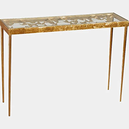 - Metal Console Table with Mirrored Top - Rectangular Console Table with Tapered Legs - Gold