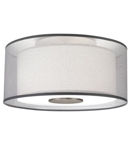 Robert Abbey S2197 Semi-Flush Mounts with Silver Transparent Exterior and Ascot White Fabric Interior Shades, Stainless Steel Finish