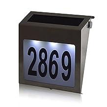 Easternstar Solar Powered House Number Light Stainless Steel Solar Doorplate Number Lamp Waterproof Wall Light