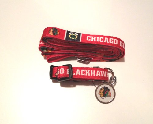 Chicago Blackhawks Dog 3pc Pet Set Leash Collar ID Tag SMALL