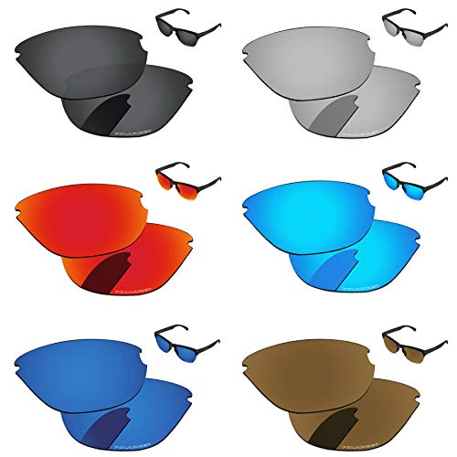 PapaViva Lenses Replacement for Oakley Frogskins Lite Black Grey & Chrome Silver & Ice Blue & Fire red & Deep Water & Bronze Golden